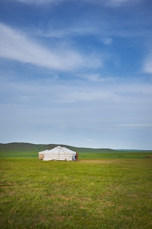 ger: A nice typical Mongolian landscape of the yurt. Mongolian steppe