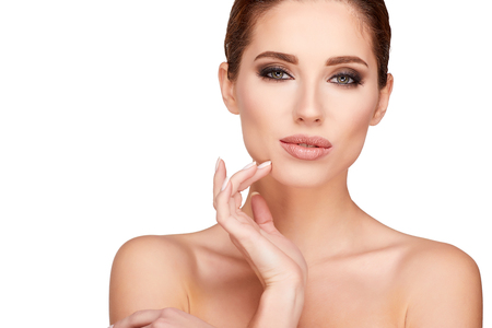 glamour makeup: Glamour portrait of beautiful woman model with fresh daily makeup  Stock Photo