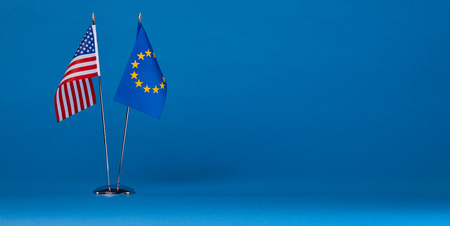 sabotage: Two flags on a blue background, the political concept