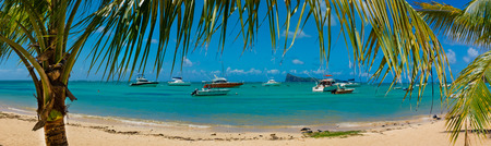 amazing panorama  beaches of Mauritius island. Tropical vacation