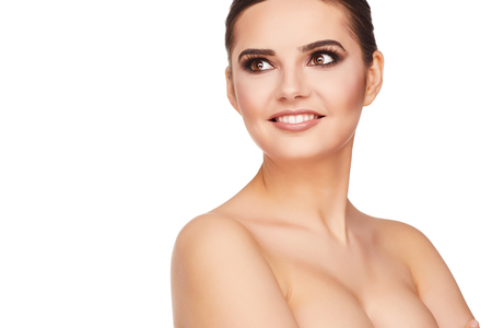 Beauty Woman face Portrait. Beautiful Spa model Girl with Perfect Fresh Clean Skin. photo
