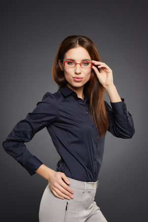 glasses eye: business woman in glasses