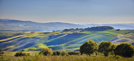 Panoramic view of the hills of Tuscany Italy