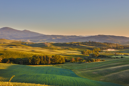podere: Panoramic view of a spring day in the Italian rural landscape.
