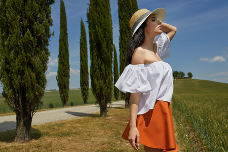 Girl in tuscany. Italian holiday Stock Photo