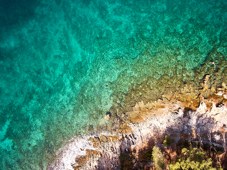 Top View of Rocks and sea water