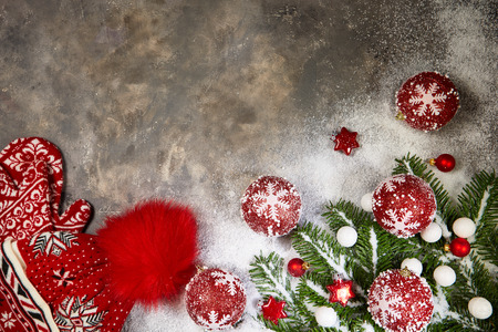 Wooden Background Pine Tree Cone Concept of Christmas Top View Table Copy Space New Year Decorations Snow Down