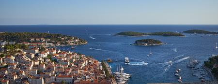 Hvar city panorama Фото со стока