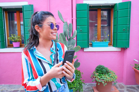 Young Tourist Woman In Old Italian colorful Town