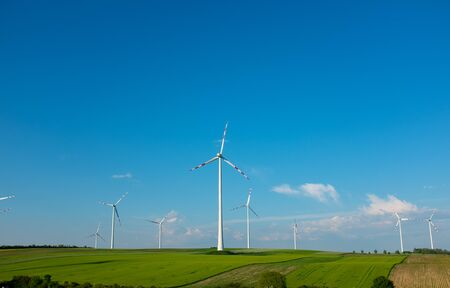 Wind Generators, Ecology . Green field and sky