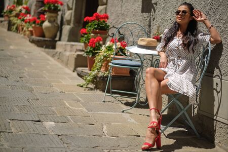 Beautiful italian woman outdoor on the street of the old town
