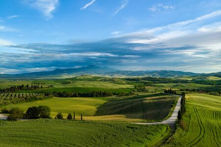 Beautiful aerial view of Tuscany Hills, Italy in spring.  Banco de Imagens