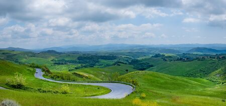 Typical landscape of the Val dOrcia in Tuscany, Italy. Aerial view.