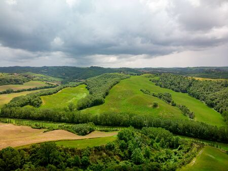 Typical landscape of the green Tuscany, Italy. Aerial view.