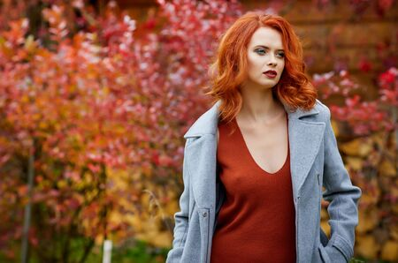 Outdoors portrait of colorful clothed gorgeous fall fashion girl. Reklamní fotografie