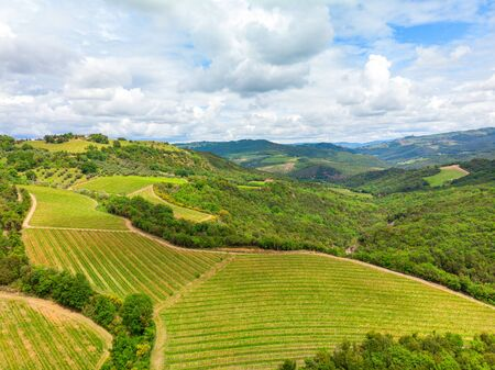 Aerial view of a vineyard and hotel in the green landscape of Tuscany Italy