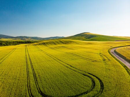 Tuscany countryside hills, stunning aerial view in spring. Reklamní fotografie