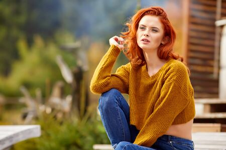 Autumn redhair girl Stock fotó