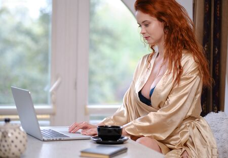 Pretty beautiful woman working on a laptop at the window in the house