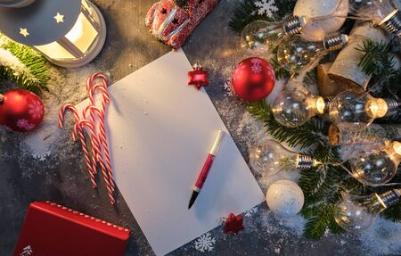 Santa Letter, greetings, Christmas gifts and decorations Stock Photo
