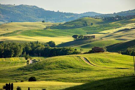 Tuscany, amazing sunset italian landscape Stock fotó