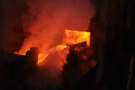 Hot steel pouring in steel plant Zdjęcie Seryjne