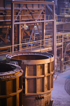 Melting of metal in a steel plant. High temperature in the melting furnace. Steel mill Zdjęcie Seryjne