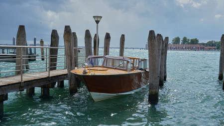 Motor boat at the marina of Venice 版權商用圖片