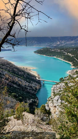View on Guadalest water reservoir with turquoise water in Alicante province Spain Archivio Fotografico