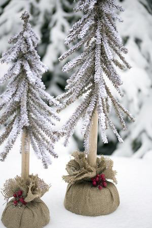 fake christmas tree: Decorative Christmas Trees Stock Photo