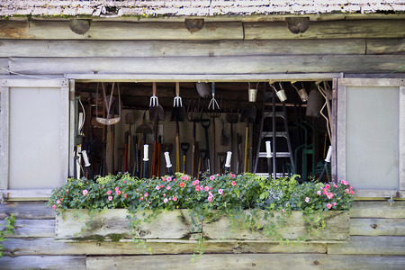 Tool Shed with Flower Box Фото со стока
