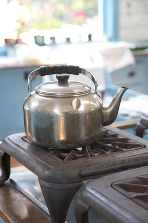 rustic kitchen: Rustic Kitchen - kettle Stock Photo