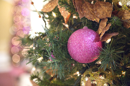 Pink Christmas Ball and Bokeh