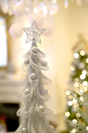 Silver Christmas Tree with Star and Bokeh