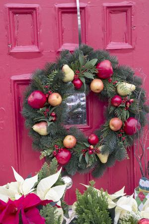 Fruity Christmas Wreath on Red Door