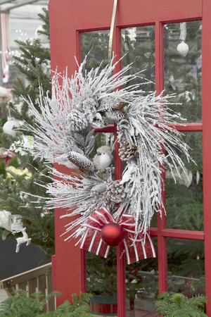 Frosty Christmas Wreath on Red Door