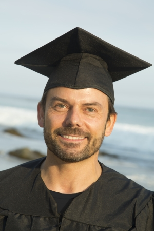 Happy middle-aged male graduate photo
