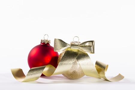 christmas ornaments on white photo
