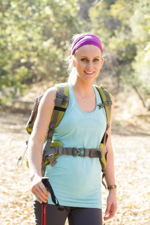 causcasian: Female hiker on trail