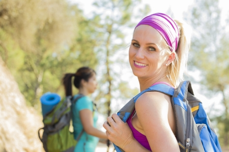 causcasian: Smiling female hiker