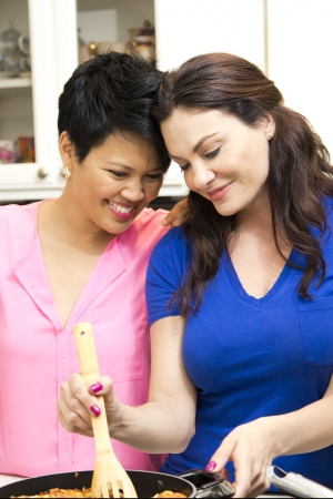 stove: Lesbian couple cooking Stock Photo