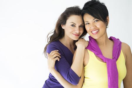Same sex couple on white background Stock Photo - 24052944