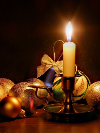 Still-life with candle and christmas balls Stock Photo - 563877