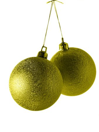 bedeck: Two golden christmas balls isolated over white background