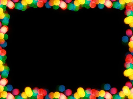 Colorful  garland lights looking as frame over black background Stock Photo - 579407