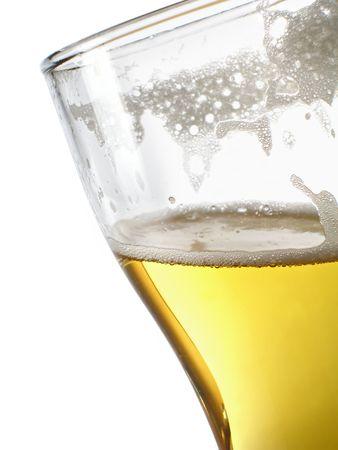 bleb: Beer within mug close-up over white background Stock Photo
