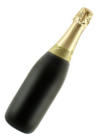 solemnity: Bottle of champagne isolated on pure white background