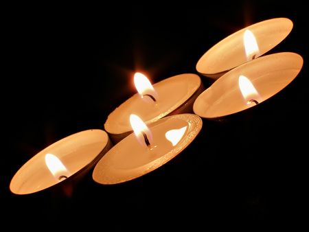Five candles looking as symbol of sports competition games Stock Photo - 621487