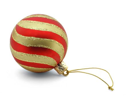 bedeck: Striped christmas ball isolated on whte background