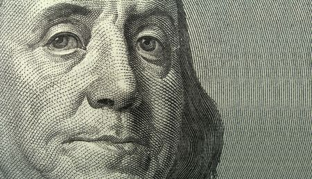 franklin: Portrait of Benjamin Franklin close-up from one hundred dollars bank note  with copyspase